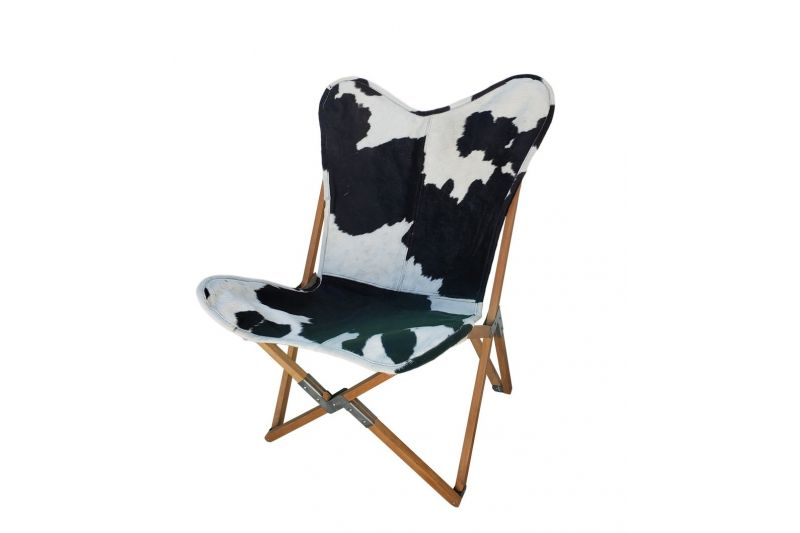 Tripolina cowhide chair, black and white & natural frame
