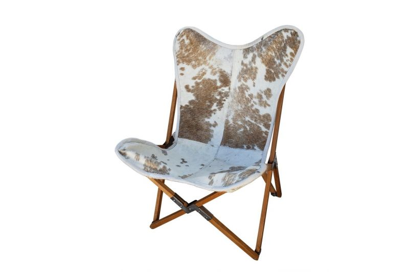 Tripolina cowhide chair, brown and white & natural frame