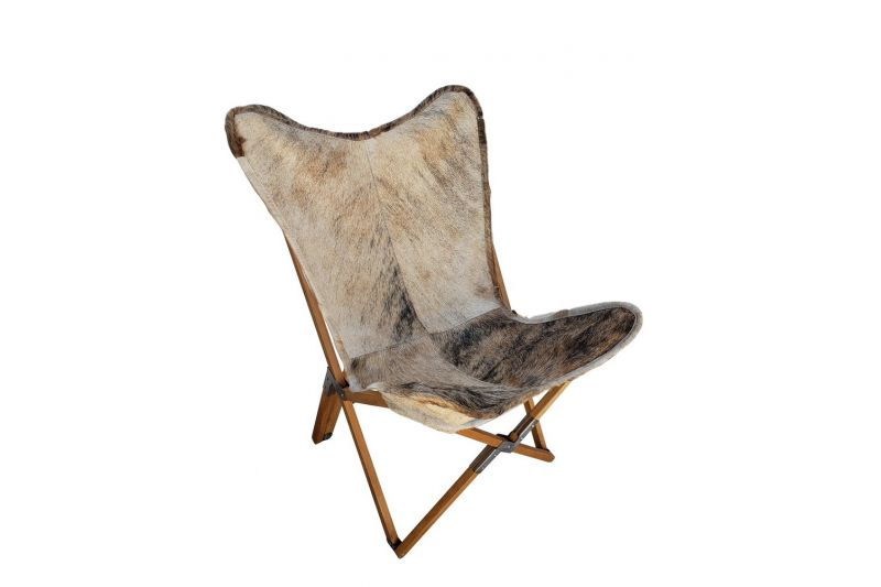 Tripolina cowhide chair, light brindle & natural frame
