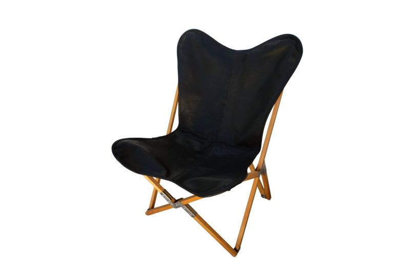 Tripolina cowhide chair, black leather & natural frame