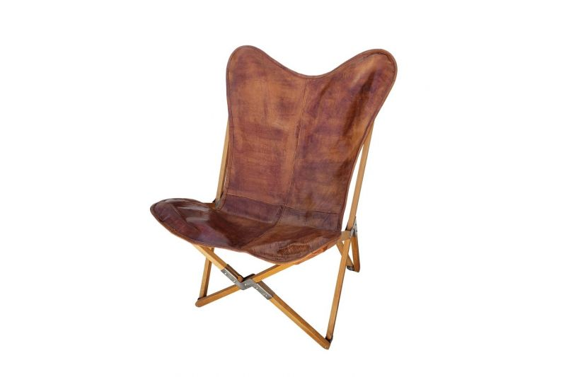Tripolina cowhide chair, brown leather & natural frame