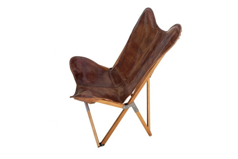 Tripolina cowhide chair, brown leather & light mahogany frame
