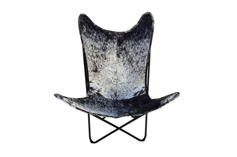 Butterfly 2020 salt & pepper cowhide chair - black frame