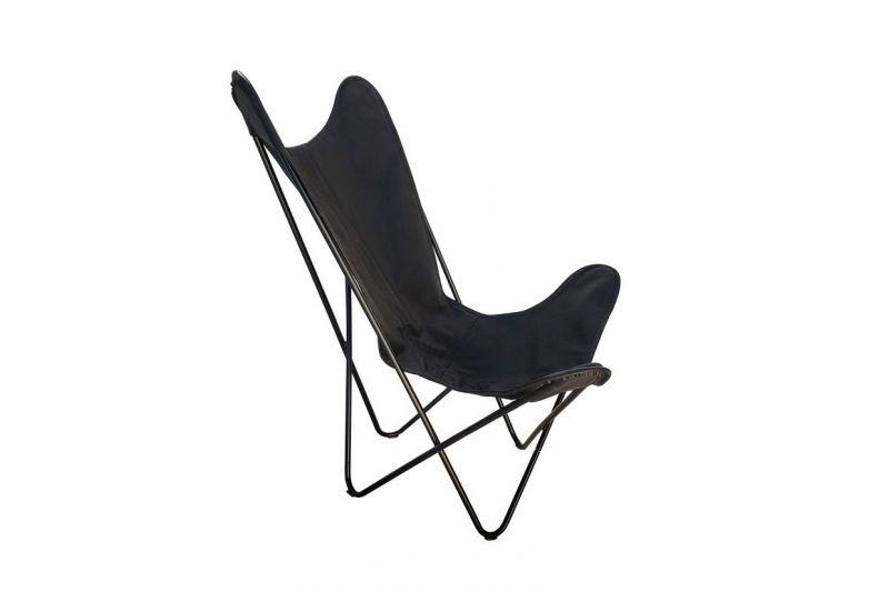 Butterfly 2020 black leather chair - black frame