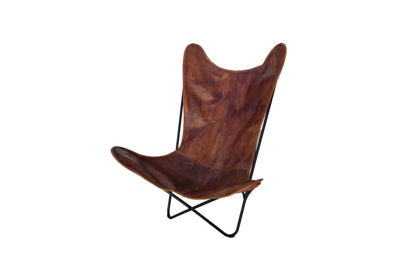 Butterfly 2020 brown leather chair - black frame