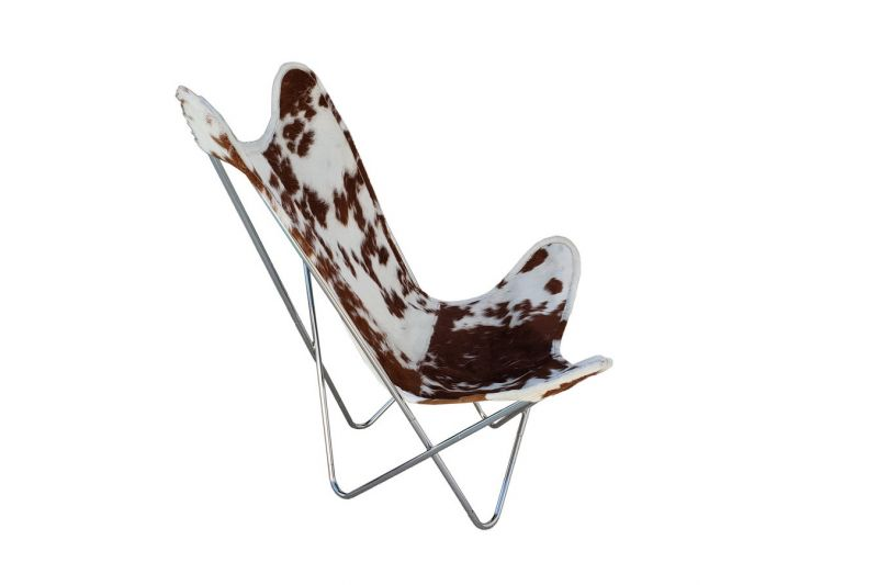 Butterfly 2020 brown and white cowhide chair - chrome frame