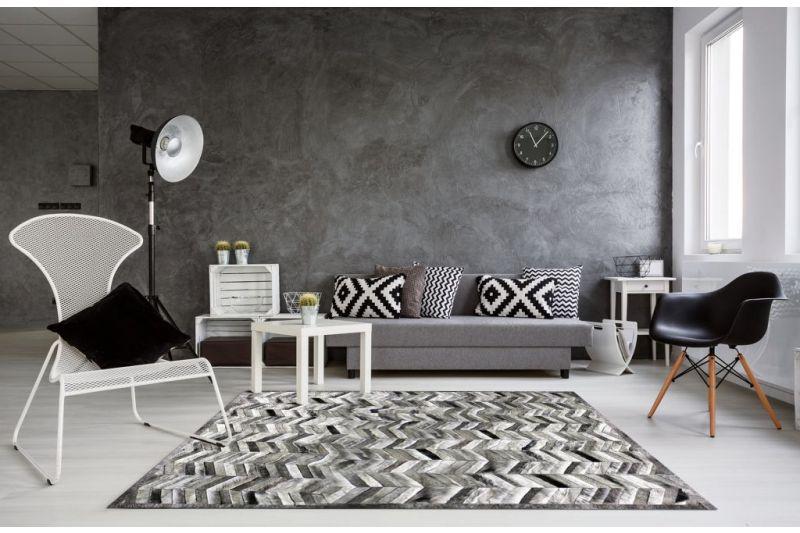 Grey thin Herringbone cowhide rug