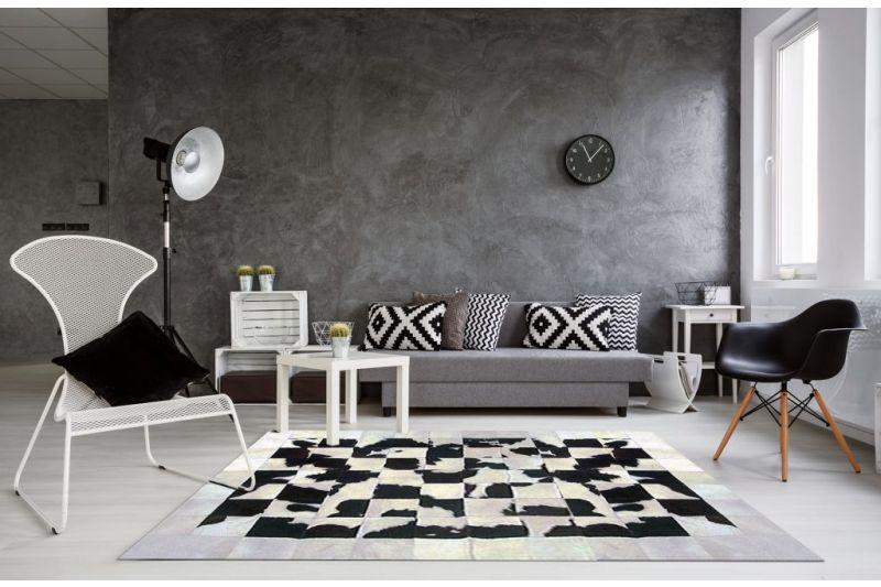 Radiant white and black cowhide rug