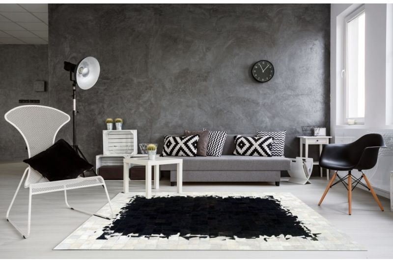 Nimbus black and white cowhide rug