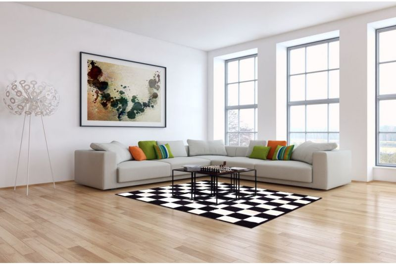 Black and white chess board cowhide rug