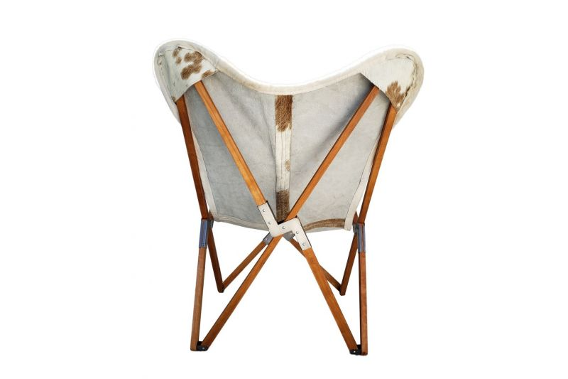 Tripolina cowhide chair, brown and white & light mahogany frame