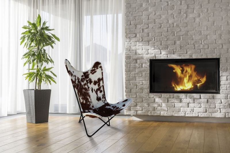 Butterfly 2020 brown and white cowhide chair - black frame