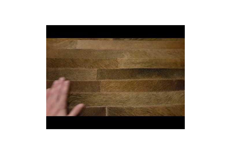 Brown blocks cowhide rug