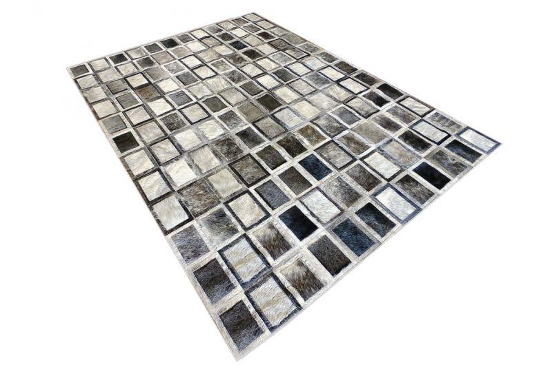 Grey magic cubes cowhide rug