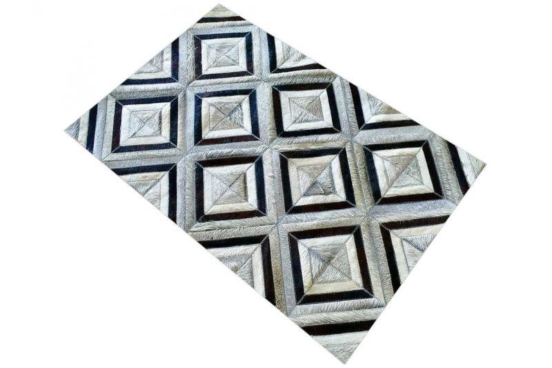 Grey and black diamond cowhide rug