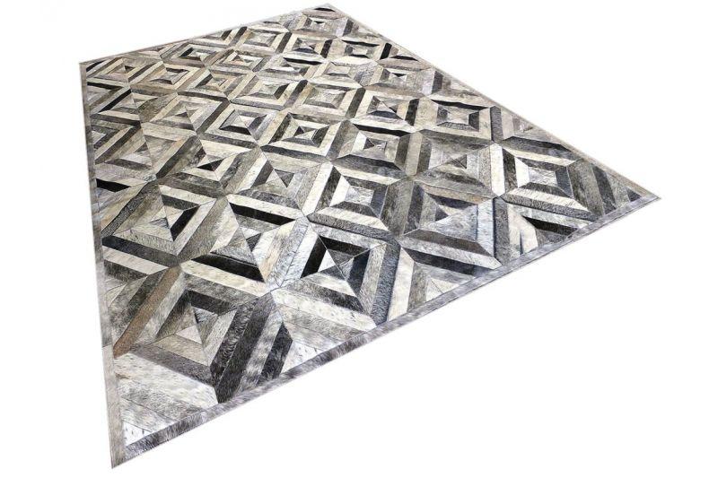 Grey diamond cowhide rug