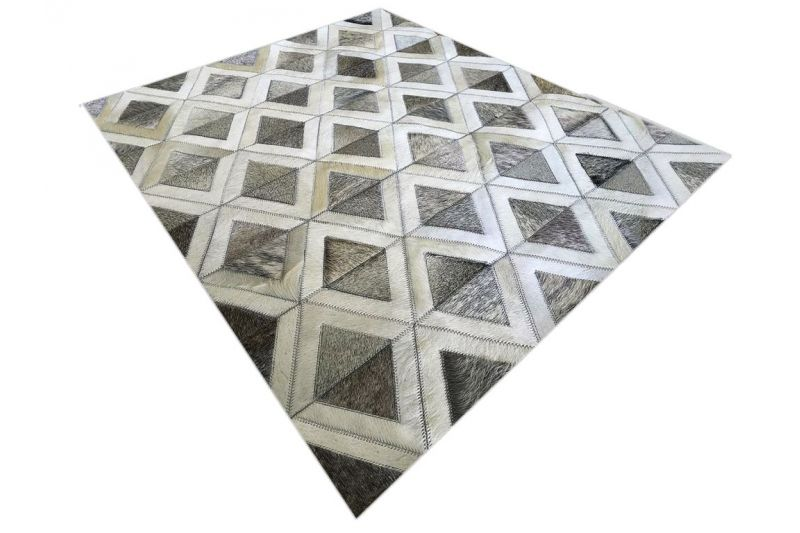 Grey and white pyramids cowhide rug