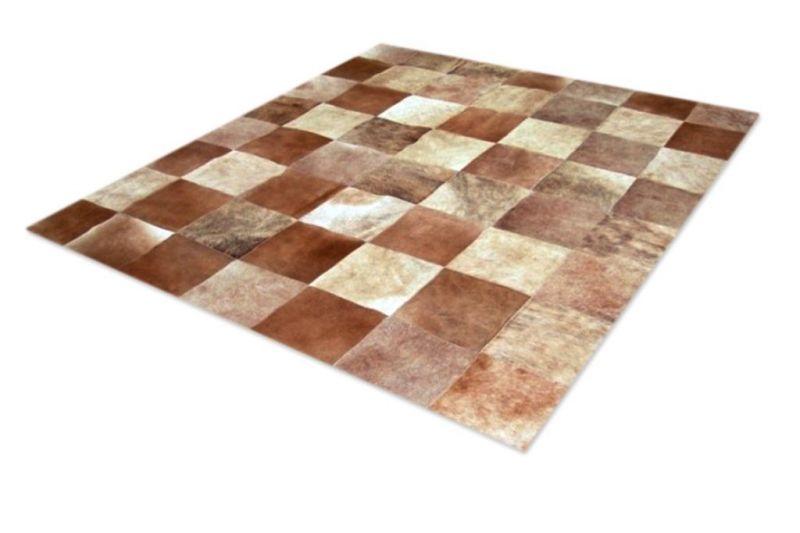 Brindle and beige cowhide rug