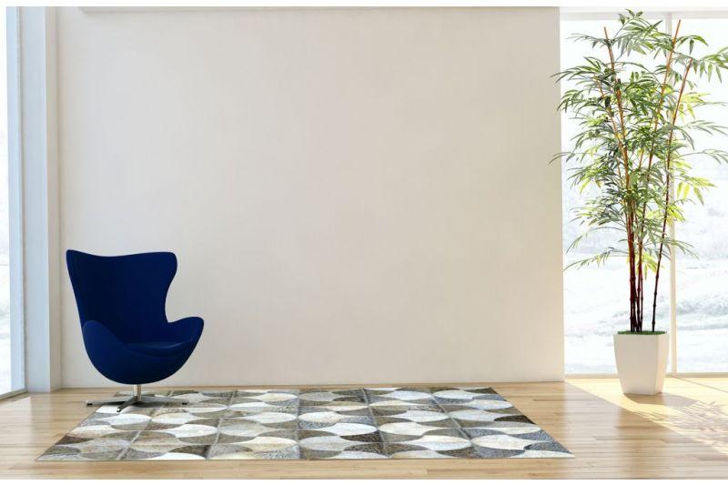 Grey windmill cowhide rug