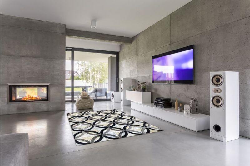 White, black and grey chain cowhide rug
