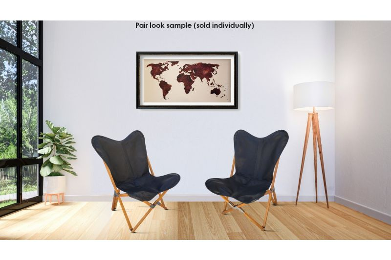 Tripolina cowhide chair, black leather & light mahogany frame