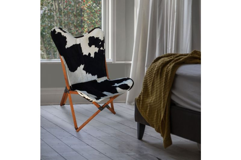 Tripolina cowhide chair, black and white & light mahogany frame