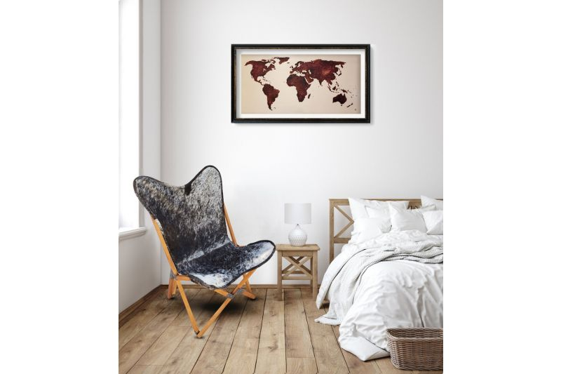 Tripolina cowhide chair, salt and pepper & light mahogany frame