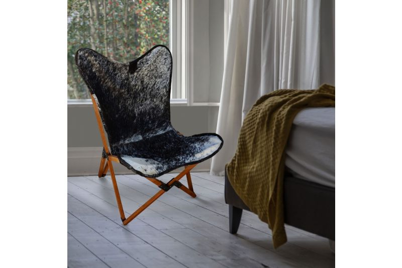 Tripolina cowhide chair, salt and pepper & natural frame