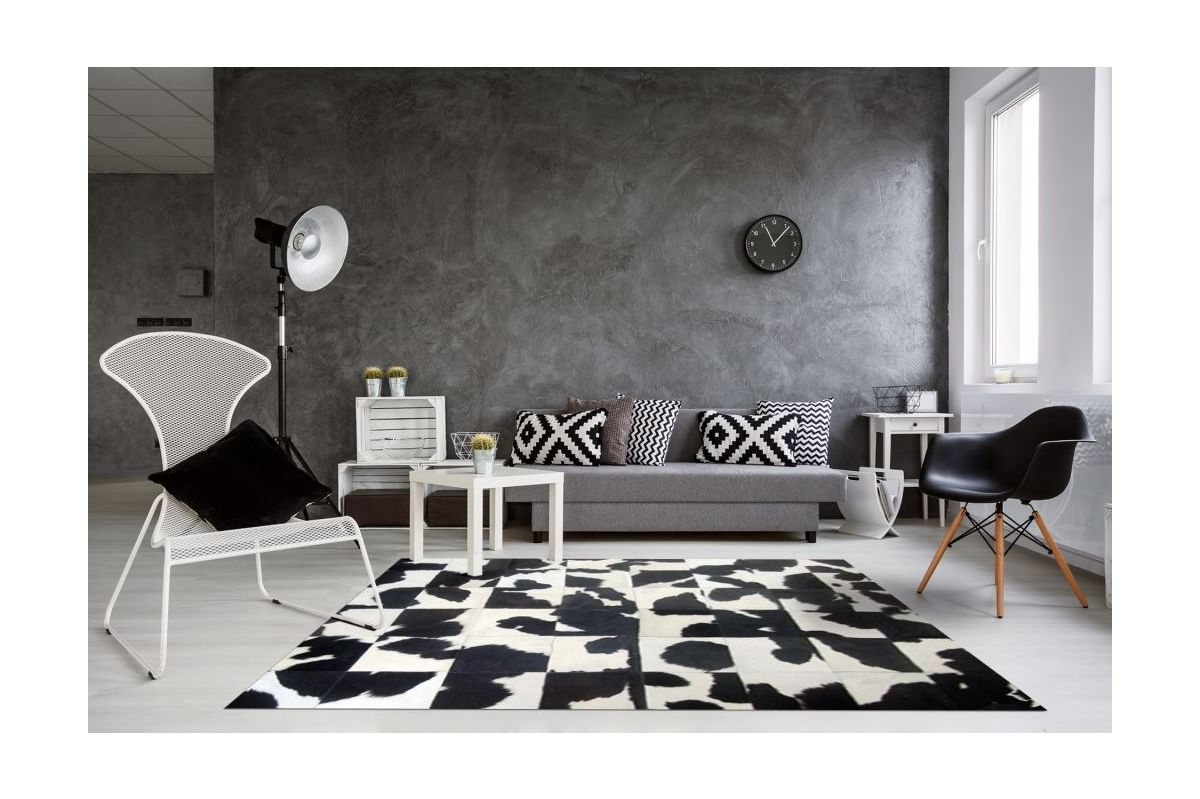 Black And White Cowhide Rug Random Natural Pattern