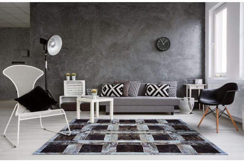 Grey brindle blocks cowhide rug