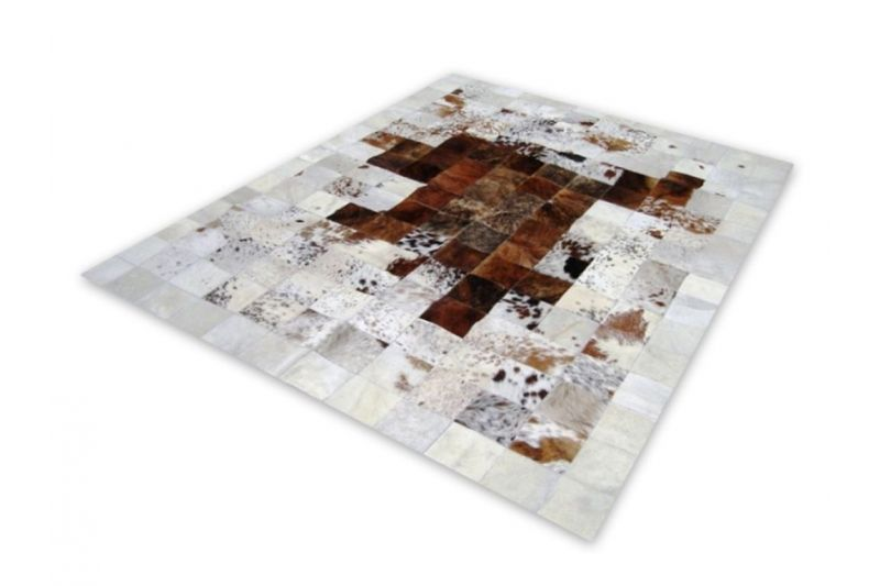 Salt and pepper brown cowhide rug