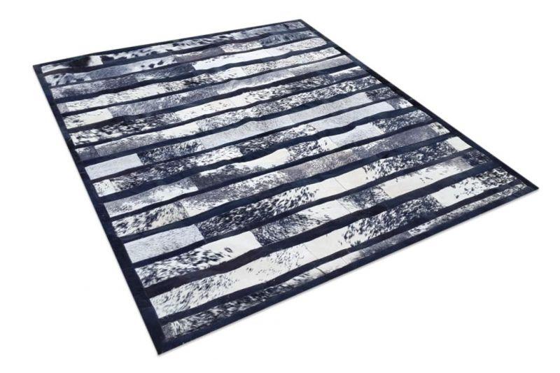 Salt and pepper stripes cowhide rug